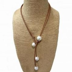 wendy mignot pearl and leather necklace