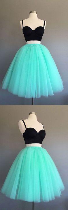 cute two pieces mint green short prom dress, homecoming dress, green dress for teens
