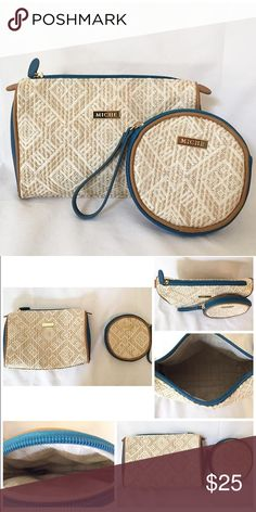 "Miche accessory bags NWOT. Miche straw accessory bags. Tan and white with teal blue sides and zippers. Rectangle-9""x7"" Circle-5.5""x5.5"" Detail pictures to follow Miche Bags Cosmetic Bags & Cases"