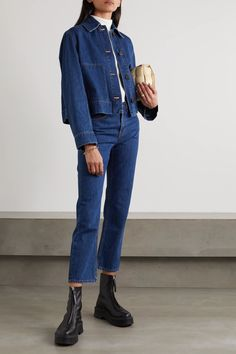 Blue Loes denim jacket | The Row | NET-A-PORTER Cropped Denim Jacket Outfit, Jean Jacket Outfits, Denim Jacket Fashion, Denim Outfit, Jacket Style, Cropped Jeans, Blue Chelsea Boots, Chelsea Boots Outfit, The Row