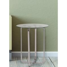 Arpeggio Stainless Steel Glass Top End Table, Stainless Steel Finish With Clear Tempered Glass