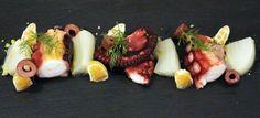 Polipo e finocchi croccanti con clementine e olive taggiasche