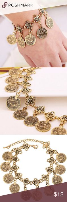 """Turkish Gold Coin Bracelet/Anklet New Turkish gold coin anklet. Could also be worn as a bracelet on the wrist. Adjustable from 7.48"""" - 10.24"""" Made of gold alloy. Listing is for one anklet! Bundle and save. Jewelry Bracelets"""