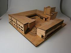 Saynatsalo Town Hall scale model) by P. Scale Model Architecture, Maquette Architecture, Architecture Portfolio, Amazing Architecture, Art And Architecture, 3d Building Models, Hall Interior, Arch Model, Alvar Aalto