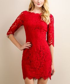 Look what I found on #zulily! Soiéblu Wine Red Floral Lace Bodycon Dress by Soiéblu #zulilyfinds