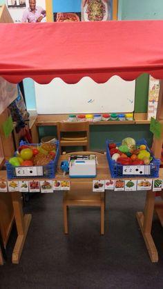 een winkel hoek in de klas Play Grocery Store, Dramatic Play Themes, Farm Lessons, Play Table, Cardboard Crafts, Preschool Kindergarten, Doll Furniture, Classroom Themes, School Projects