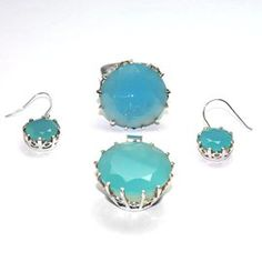 Blue Chalcedony 925 Sterling Silver Pendant, Earrings And Ring Jewelry Set Gemstone: Blue Chalcedony Stone Size: 25,12,25 MM Stone Shape: ROUND Weight: 12.5, 6.5, 17.6 Gram Pendent And Earrings Size: 40, 30 MM