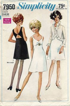 60s Vintage Empire Waist Evening Dress Jacket Simplicity Pattern 7950
