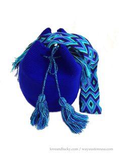 """Royal Blue Authentic Wayuu Bags Wayuu Mochilas Bags handmade by the Wayuu Indigenous. Bag Size 11"""" x 9"""" - wybag-48 on Etsy, $80.00"""