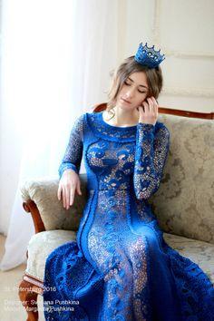 Vestido de encaje irlandés vestido azul vestido de alta