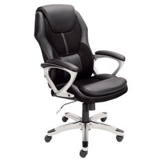 Found it at Wayfair - Kennedy High-Back Office Chair in Black with Arms