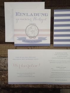 """HOCHZEITSPAPETERIE-SET """"MARITIME HAMPTONS-HOCHZEIT"""" IN DEN NEUEN TREND-FARBEN """"PANTONE COLORS 2016""""  Hochzeit, Einladung, maritim, Knoten, Schiffsknoten, Streifen, blau, rosa, Pantone, Banner, vintage, Seil"""