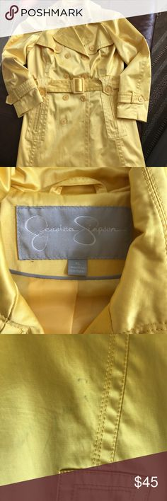 Trench coat Beautiful canary yellow satin texture, fully lined trench coat. Some minor stains. Just had it dry cleaned. Please see pics. Great for spring showers. Such a happy color!🌂🌦☔️💦 Jessica Simpson Jackets & Coats Trench Coats