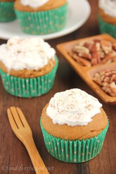 Butterscotch-Filled Pumpkin Cupcakes with Whipped Cream. A surprisingly easy dessert & only 162 calories each!