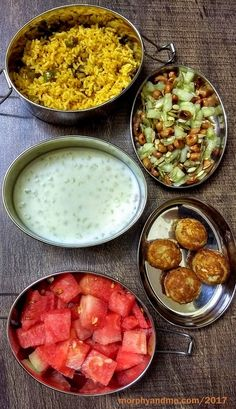 Lunchbox Ideas 6 has a juicy diced watermelon and healthy oats unniappam for snack; Vangi baath , sago kheer and crunchy cucumber salad for lunch