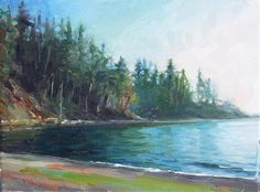 "Daily+Paintworks+-+""Larrabee+Park+Boat+Launch,seascape,oil+on+canvas,9x12,priceNFS""+-+Original+Fine+Art+for+Sale+-+©+Joy+Olney"