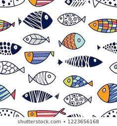 Fish Patterns, Stencil Patterns, Fish Drawing For Kids, Fish Sketch, Skin Drawing, Fish Graphic, Kids Background, Kids Line, Fish Wall Art