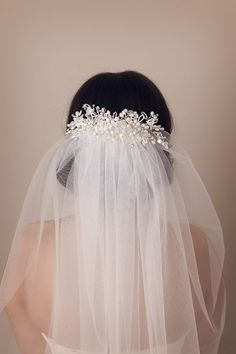 Luisa Pearl & Crystal Wedding Headpiece Bridal by MimosaCouture