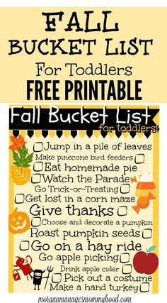 Activities for Toddlers - Fall Bucket List for Toddlers - Morgan Manages Mommyhood Looking for some fun things to do with your toddler this fall? Check out this…Looking for some fun things to do with your toddler this fall? Check out this… Fall Activities For Toddlers, Autumn Activities, Activities For Kids, Toddler Fun, Toddler Snacks, Kids Fun, Fall Crafts, Crafts For Kids, Thanksgiving Crafts