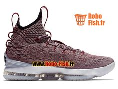 Officiel Chaussures de BasketBall Pas Cher Homme Nike LeBron 15/XV Rose Blanc 897649-201