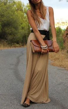 Jersey Tan skirt with black bow belt