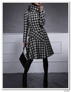 Black White Houndstooth Pure Wool Ruffled Frilly Fennel Neck Asymmetrical Long Winter Coat - by yystudio on etsy (330 dollars)