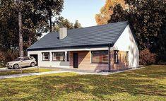 Projekt domu Murator C365h Przejrzysty - wariant VIII 91,6 m2 - koszt budowy 239 tys. zł - EXTRADOM Exterior Design, Bungalow, Building A House, House Plans, House Design, Cabin, Architecture, House Styles, Outdoor Decor