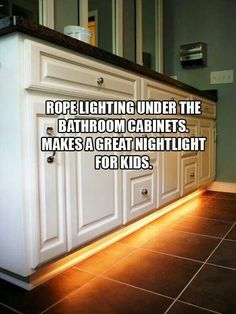 Nightlight for kids bathroom. Nice idea. Plus you won't have the nightlight creepily shining in mirrors and whatnot...