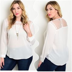 "White Blouse White Plus Size Top. This long sleeve top features a relaxed fit and a sheer lace yoke. Dress it up or down for casual look.  Measurement Armpit to Armpit  Size 3XL Bust: 23"" Length: 29"" Sleeves: 25"" Please feel free to ask any ❓❓❓ you may have. Thank you for looking and Happy Poshing!! Tops Blouses"