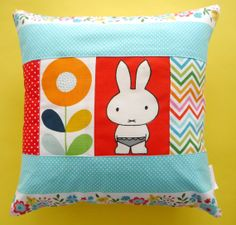 Handmade one of a kind 70s Miffy fabric Cushion Pillow by Jane Foster Dick Bruna