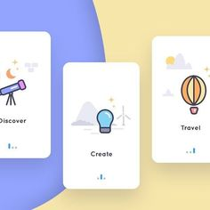 Proposed onboarding for photography app gallery windmill cloud balloon bulb telescope app photography photo ui onboarding App Design, Mobile Ui Design, Book Design, Ui Design Inspiration, Daily Inspiration, Onboarding App, Splash Screen, Web Banner, Interface Design