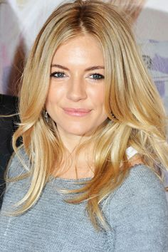 A soft, champagne blonde can work on a variety of skin tones because it combines warm and cool tones to complement any face - like Sienna Miller's gorgeous champagne-honey color.