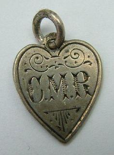 Victorian Silver Heart Shaped Love Token Coin Charm CMR