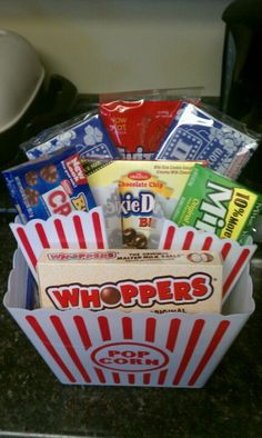 Movie night gift basket!