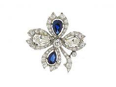 Antique Ewardian Sapphire and Diamond Clover Pin in Platinum