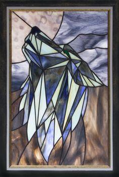 """Stained glass panel """"Polar Wolf"""" by dzubaglass.com Follow me on instagram: dzubaglass"""