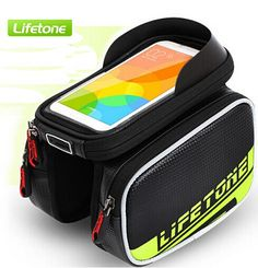 US $15.08   LIFETONE 6.0 Inch Touch Screen Bicycle Front Tube Saddle Bags PU Material Waterproof Bike saddle Bag Mountain Bike Accessories