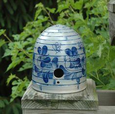 Salt-glazed Stoneware Bee Skep Birdhouse Eldreth Pottery