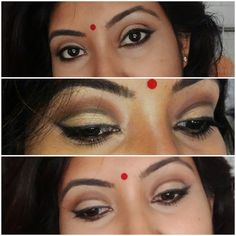 How to do cut crease eye makeup easy step by step with pictures | My Poila Boishakh makeup look