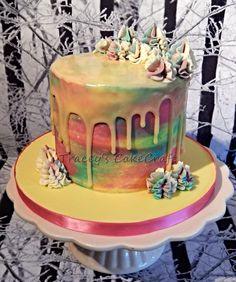 Water colour drip cake. Lemon sponge, lemon & white chocolate buttercream & lemon curd, white chocolate ganache