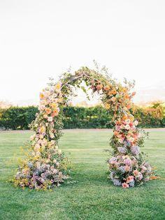 Floral Backdrop, Floral Arch, Wedding Backdrop Design, Wedding Ceremony Backdrop, Pastel Wedding Colors, Wedding Color Schemes, Wedding Arch Flowers, Ceremony Decorations, Rainbow Wedding Decorations