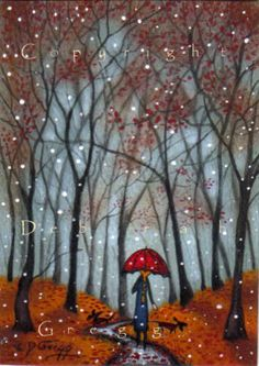 Red Umbrella Autumn Winter...Deborah Gregg use this for an inspiration piece for kids, crayon or oil pastel and watercolor resist