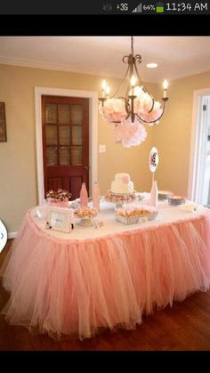 Tulle table baby girl shower idea