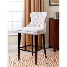 Abbyson Versailles Ivory Tufted Barstool (Ivory), Beige Off-White (Polyester)