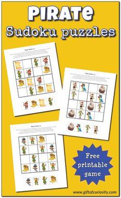 FREE Pirate Sudoku Puzzles for kids #pirates #freeprintable #sudoku #giftofcuriosity || Gift of Curiosity