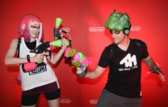 In this photo provided by Nintendo of America, cosplayers Heidi O'Ferrall and Leo Camacho celebrate the launch of the Splatoon 2 game at San Diego Comic-Con 2017. The Splatoon 2 game launches on July 21 exclusively for the Nintendo Switch system. (Photo: Business Wire) Splatoon 2 Game, Nintendo Splatoon, Splatoon Cosplay, Nintendo Switch System, San Diego Comic Con, Press Photo, Leo, Product Launch, Wire