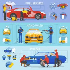 Car Wash Vector Car-washing Service with People - Man-made Objects Objects