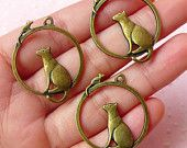 Cat and Mouse Charms (3pcs) (26mm x 32mm / Antique Bronze) Animal Charm Pendant Bracelet Earrings Zipper Pulls Bookmark Keychain CHM530