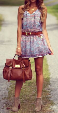love the booties, purse, necklace.. the whole outfit actually... if the skirt was wee bit longer..