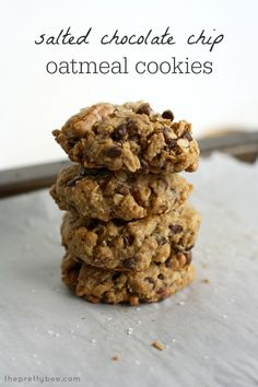 Salted Chocolate Chip Oatmeal Cookies - Vegan and Gluten Free. - The Pretty Bee